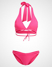 South Beach SOLID COLOUR WRAP TOP AND DOUBLE STRAP BRIEF SET Bikini cherry pink