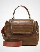 Emporio Armani TOP HANDLE CROCO BOXY CROSSBODY FLAP HANDBAG Håndveske cognac