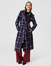 NA-KD Classic Checked Long Coat blå multicolor