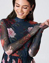 NA-KD Trend Mesh LS Midi Dress multicolor