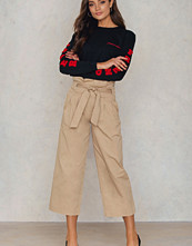 NA-KD Trend Tied Waist Wide Cotton Pants beige