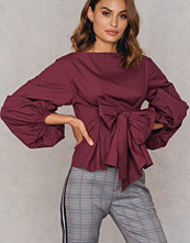 Boohoo Volume Sleeve Top röd lila