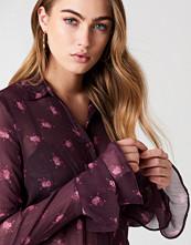 NA-KD Boho Chiffon Frill Sleeve Shirt multicolor