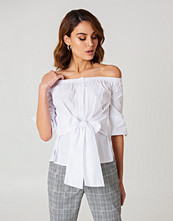Boohoo Off Shoulder Tie Waist Shirt