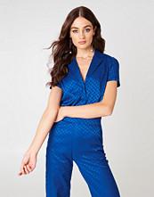 NA-KD Short Sleeve Jacquard Shirt blå