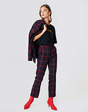 NA-KD Classic Straight Checkered Suit Pants blå multicolor
