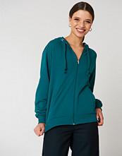 NA-KD Basic Basic Zipped Hoodie grön