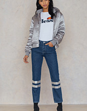 NA-KD Double Silver Striped Denim