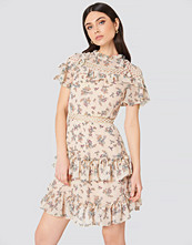 Glamorous High Neck Floral Ruffle Dress