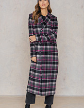 Qontrast x NA-KD Checked Long Coat multicolor