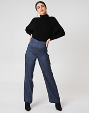 NA-KD Jacquard Satin Wide Pants blå