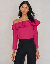 Trendyol One Shoulder Frill Top rosa