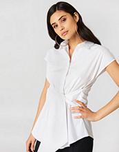 NA-KD Classic Tied Waist Cap Sleeve Shirt vit
