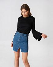 NA-KD Trend Front Slit Side Panel Denim Skirt