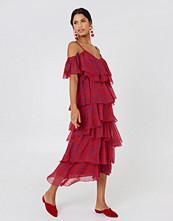 NA-KD Boho Cold Shoulder Flounce Midi Dress