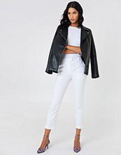 NA-KD Classic Linen Look Pants vit