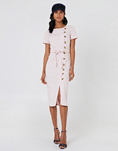 NA-KD Trend Button Straight Linen Look Dress