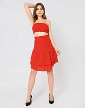 NA-KD Boho Shirred Part Flounce Skirt - Minikjolar