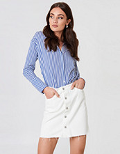 NA-KD Button Up Raw Hem Denim Skirt