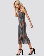 NA-KD Boho Striped Midi Side Slit Dress