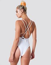 NA-KD Swimwear Double Cross Strap Swimsuit vit