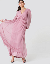 NA-KD Boho Wide Balloon Sleeve Chiffon Dress rosa