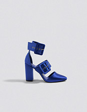 NA-KD Shoes Multi Buckle Block Heels blå