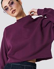 NA-KD Raw Hem Batwing Sweatshirt lila