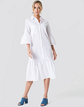 NA-KD Boho Bell Sleeve Shirt Dress vit