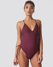 NA-KD Swimwear Drawstring Side Swimsuit lila