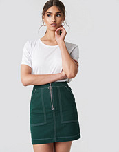 NA-KD Trend Contrast Seam Denim Skirt - Minikjolar