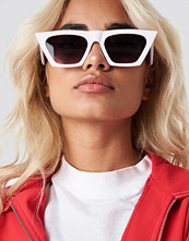 NA-KD Accessories Sharp Square Cateye Sunglasses vit