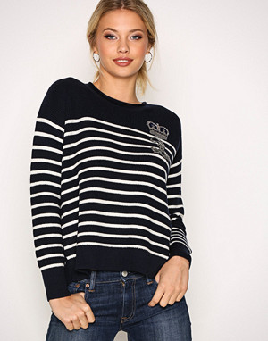 Polo Ralph Lauren genser, Navy/Cream Embellished Roll Neck Long Sleeve Sweater