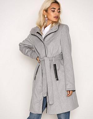 Vero Moda kåpe, Lys grå Vmprato Rich 3/4 Wool Jacket Noos