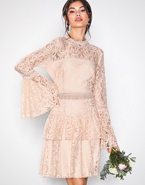 U Collection kjole, Dreamy Lace Dress Light Beige