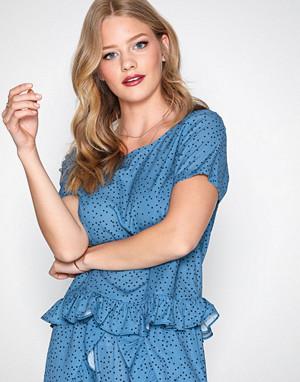 Glamorous T-skjorte, Flounce Top Blue