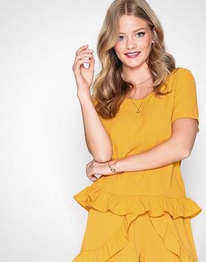 Glamorous T-skjorte, Flounce Top Mustard