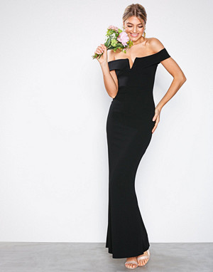 Missguided kjole, Black Crepe Bardot V Plunge Maxi Dress