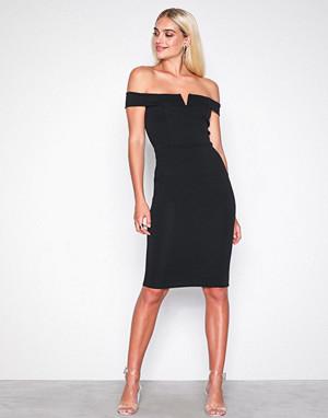 Missguided kjole, Black V Front Bardot Midi Dress