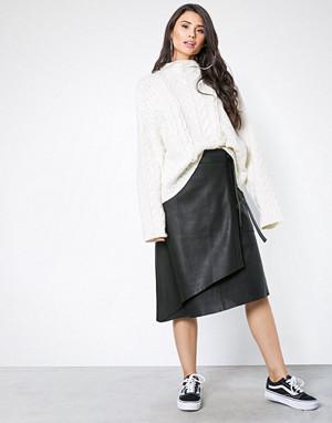 NORR skjørt, Sabine long leather skirt