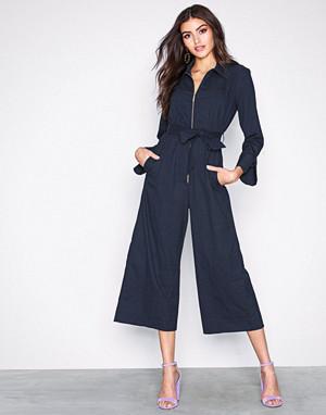 Closet jumpsuit, Navy Wide Leg Shirt Jumpsuit