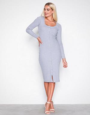 Missguided kjole, Grey Popper Midi Dress