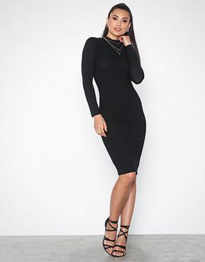 Parisian kjole, Rib Knit Neck Long Sleeve Midi Dress