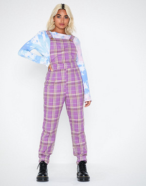 Missguided jumpsuit, Check Purple Dungaree Jumpsuit