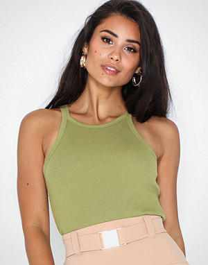 NLY Trend singlet, High Neck Rib Top