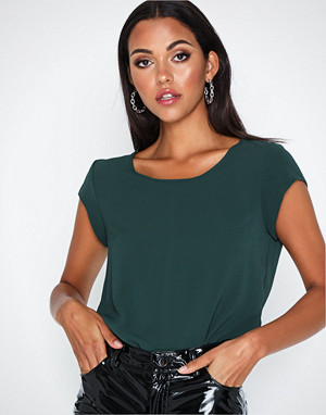 Only bluse, onlVIC S/S Solid Top Noos Wvn Grå