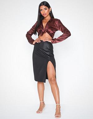 NLY One skjørt, Coated Slit Skirt