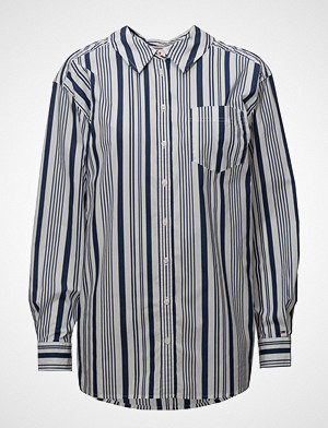 Tommy Jeans skjorte, Tjw Stripe Neck Detail Shirt Langermet Skjorte Blå TOMMY JEANS