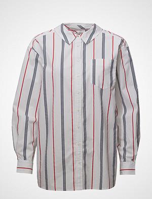Tommy Jeans skjorte, Tjw Stripe Neck Detail Shirt Langermet Skjorte Hvit TOMMY JEANS