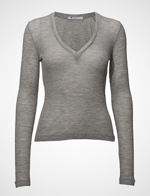 T by Alexander Wang genser, Sheer Wooly Rib Deep V-Neck L/S Top